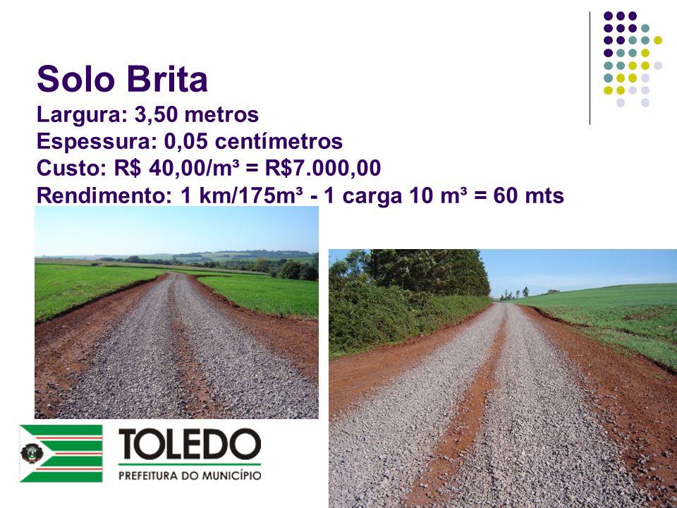 Solo Brita Largura: 3,50 metros Espessura: 0,05 centímetros Custo: R$ 40,00/m³ = R$7.000,00 Rendimento: 1 km/175m³ - 1 carga 10 m³ = 60 mts
