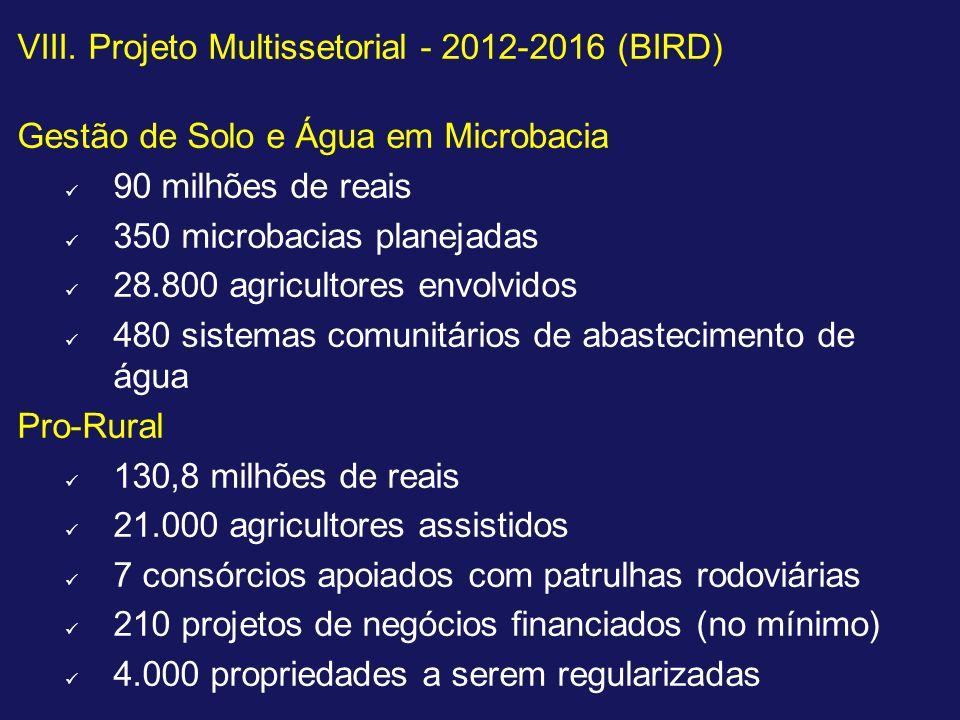 VIII. Projeto Multissetorial - 2012-2016 (BIRD)