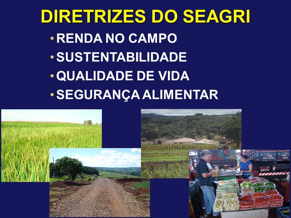 DIRETRIZES DO SEAGRI RENDA NO CAMPO SUSTENTABILIDADE QUALIDADE DE VIDA
