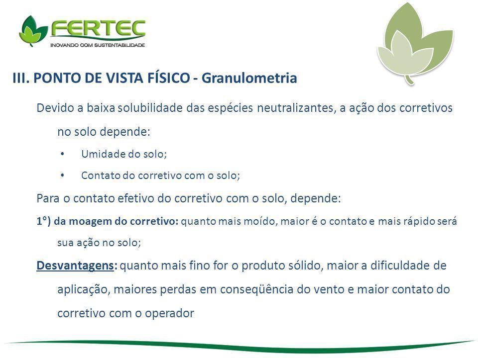 III. PONTO DE VISTA FÍSICO - Granulometria