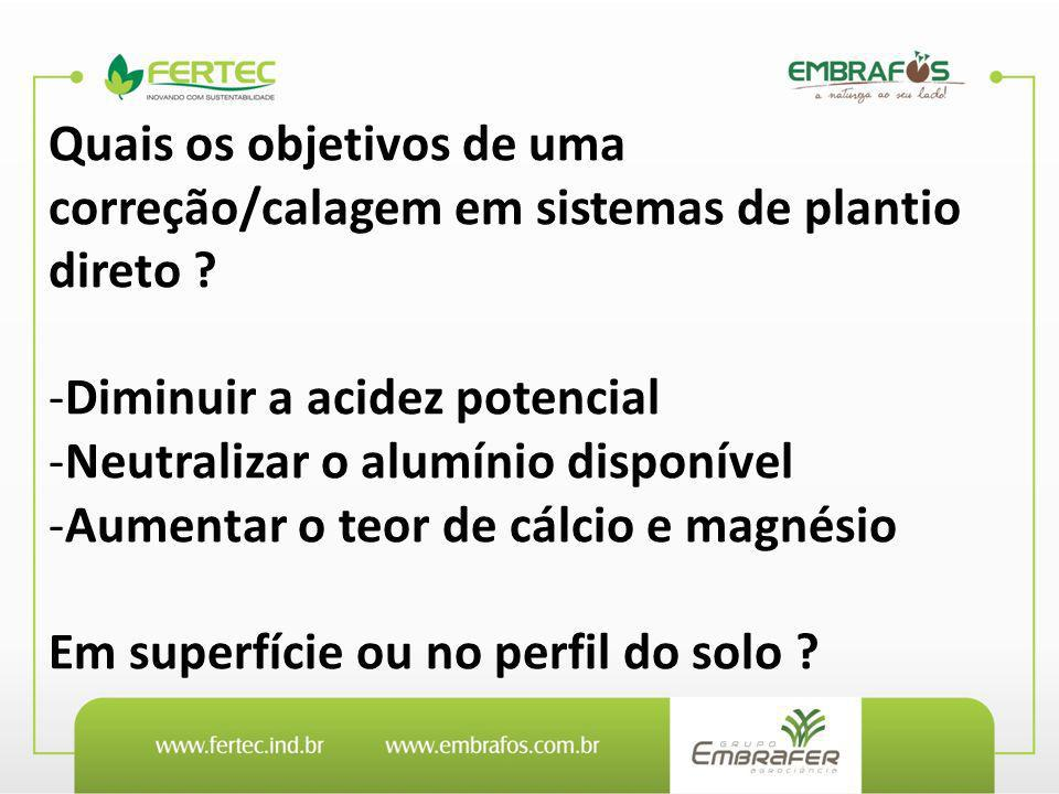 Quais os objetivos de uma correção/calagem em sistemas de plantio direto