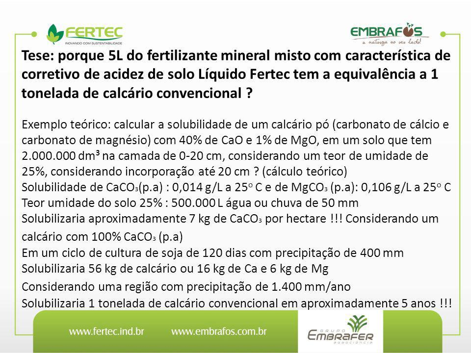 Tese: porque 5L do fertilizante mineral misto com característica de corretivo de acidez de solo Líquido Fertec tem a equivalência a 1 tonelada de calcário convencional
