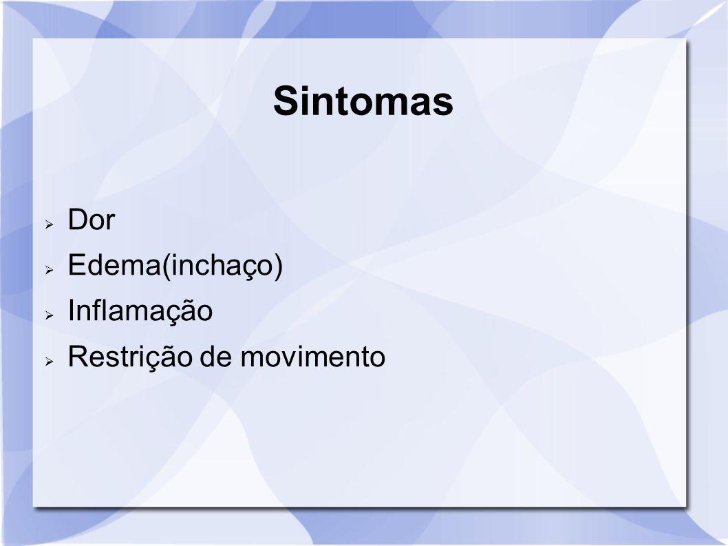 Sintomas Dor Edema(inchaço) Inflamação Restrição de movimento