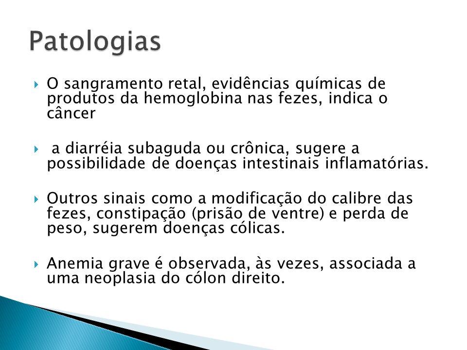 Patologias O sangramento retal, evidências químicas de produtos da hemoglobina nas fezes, indica o câncer.