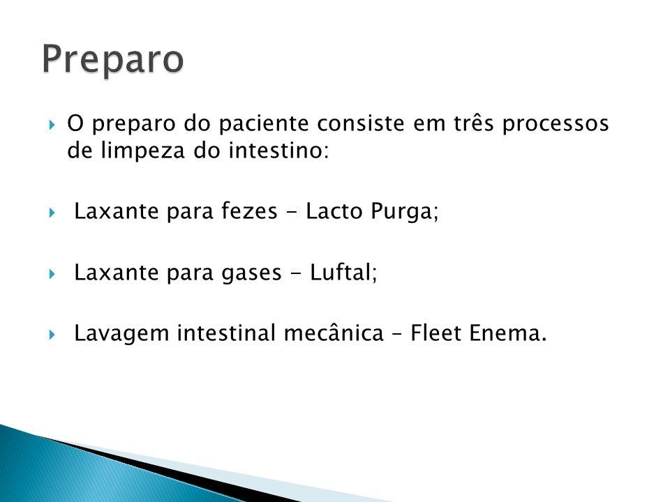 Preparo O preparo do paciente consiste em três processos de limpeza do intestino: Laxante para fezes - Lacto Purga;