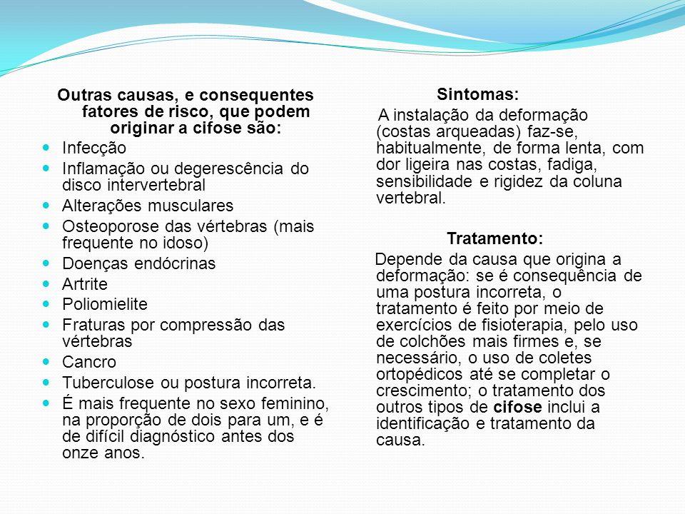 Outras causas, e consequentes fatores de risco, que podem originar a cifose são: