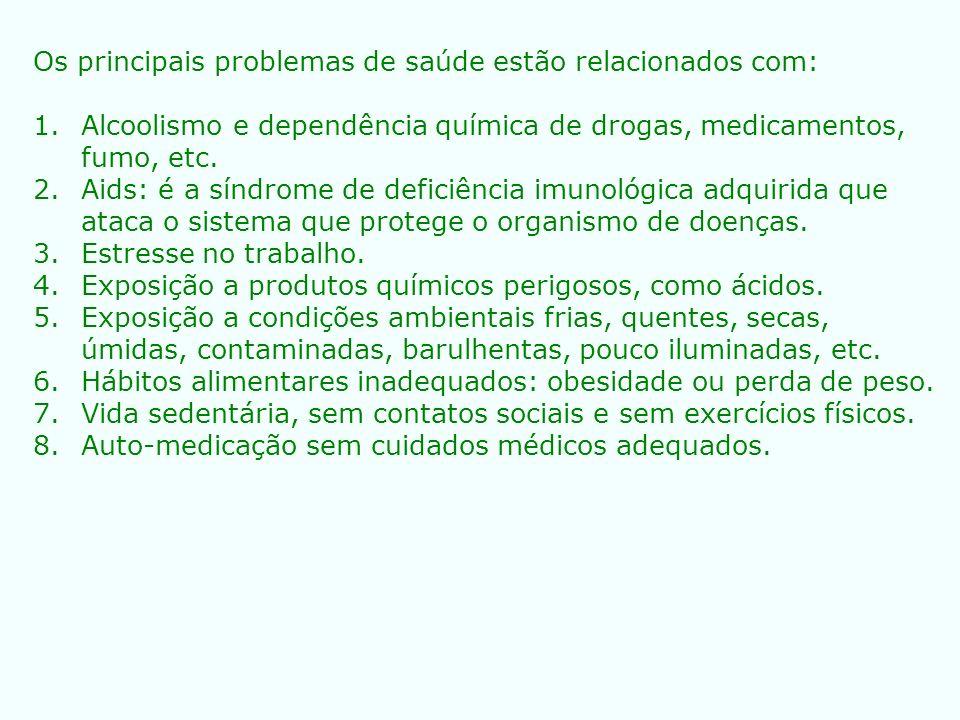 Os principais problemas de saúde estão relacionados com: