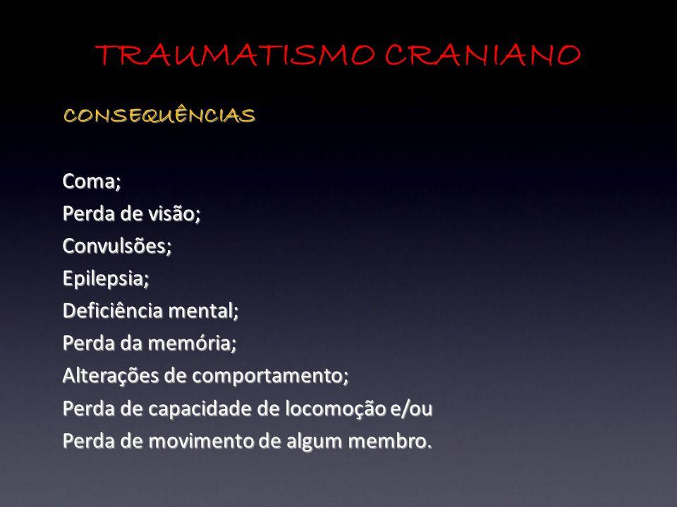 TRAUMATISMO CRANIANO CONSEQUÊNCIAS Coma; Perda de visão; Convulsões;