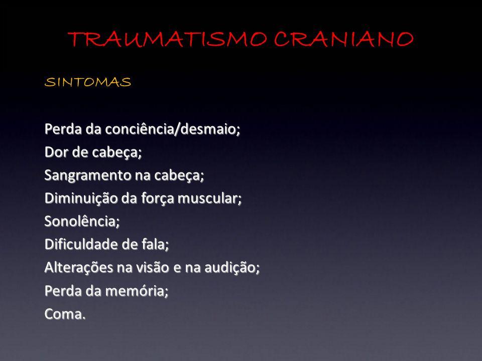 TRAUMATISMO CRANIANO SINTOMAS Perda da conciência/desmaio;