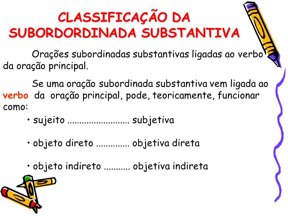 CLASSIFICAÇÃO DA SUBORDORDINADA SUBSTANTIVA