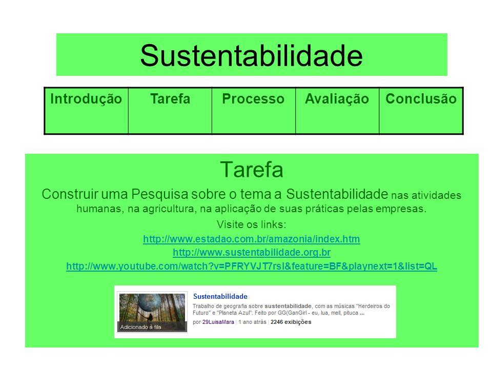 Sustentabilidade Tarefa Introdução Tarefa Processo Avaliação Conclusão