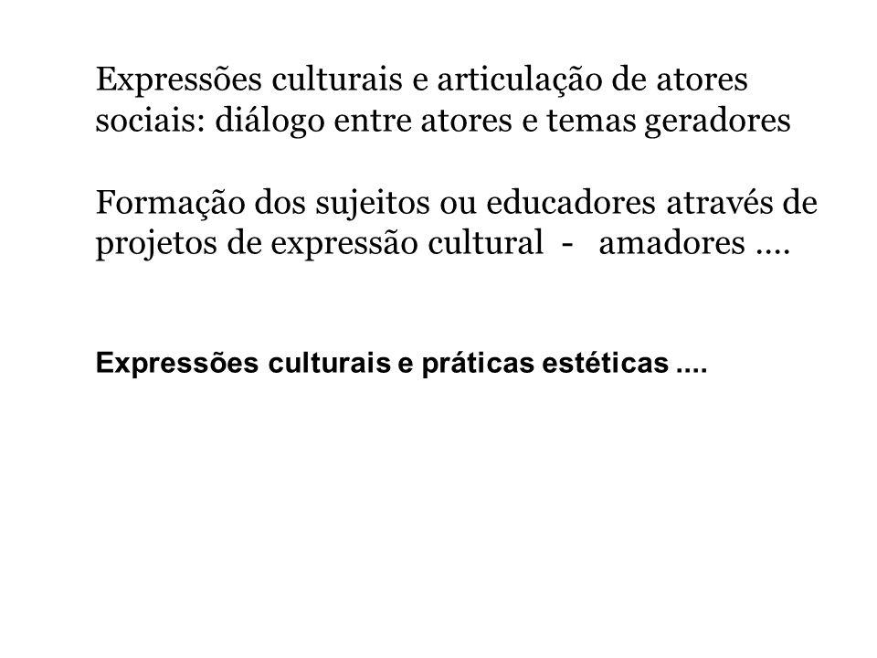 Expressões culturais e articulação de atores sociais: diálogo entre atores e temas geradores
