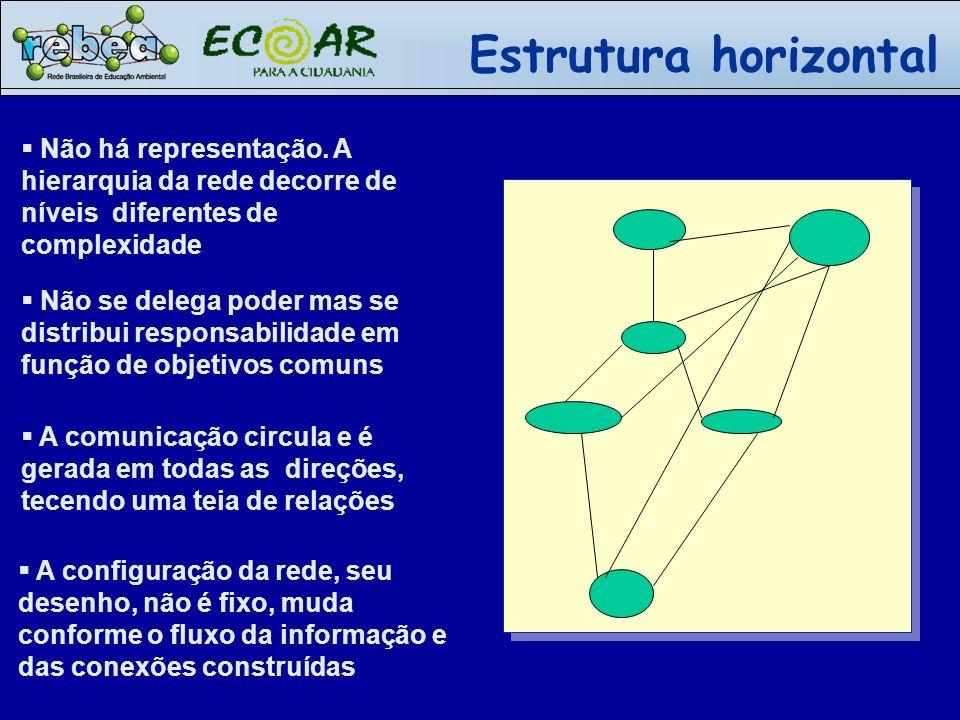 Estrutura horizontal Não há representação. A hierarquia da rede decorre de níveis diferentes de complexidade.