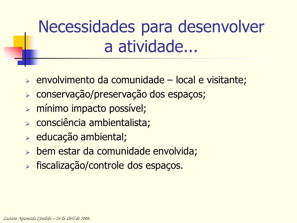 Necessidades para desenvolver a atividade...