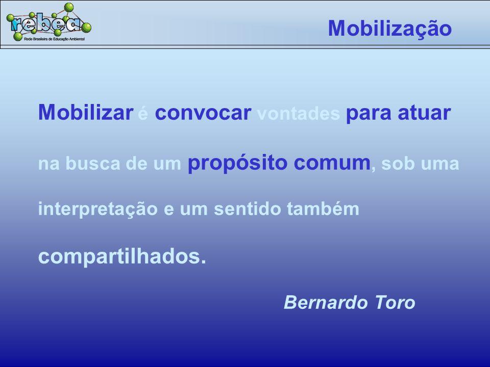 Mobilização Mobilizar é convocar vontades para atuar na busca de um propósito comum, sob uma interpretação e um sentido também compartilhados.