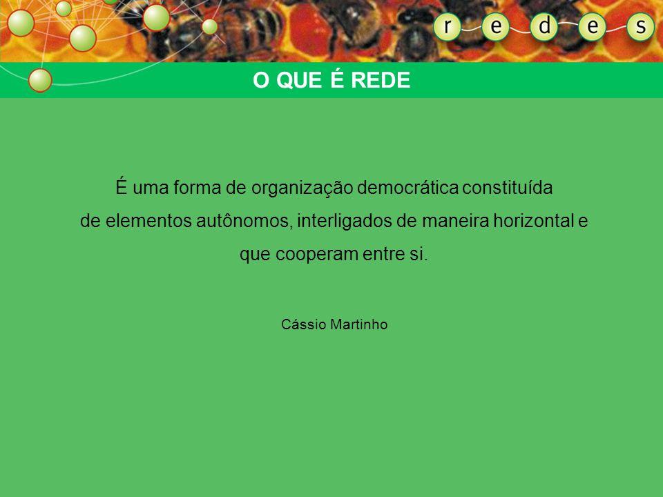 O QUE É REDE É uma forma de organização democrática constituída de elementos autônomos, interligados de maneira horizontal e que cooperam entre si.