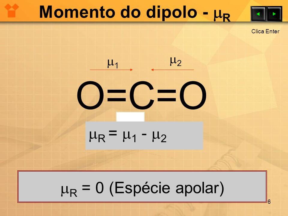 O=C=O Momento do dipolo - R R = 1 - 2 R = 0 (Espécie apolar) 2