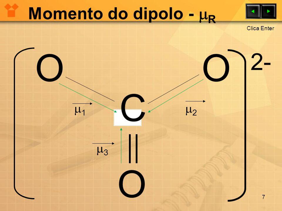 Momento do dipolo - R Clica Enter O O 2- C 1 2 3 O