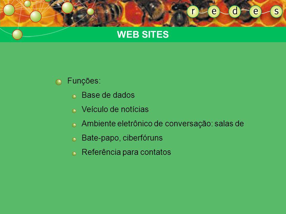 WEB SITES Funções: Base de dados Veículo de notícias