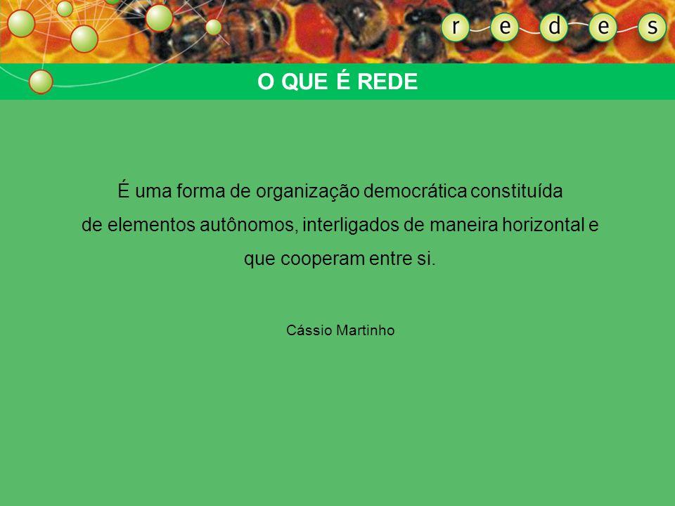 O QUE É REDEÉ uma forma de organização democrática constituída de elementos autônomos, interligados de maneira horizontal e que cooperam entre si.