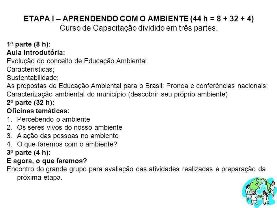 ETAPA I – APRENDENDO COM O AMBIENTE (44 h = 8 + 32 + 4) Curso de Capacitação dividido em três partes.