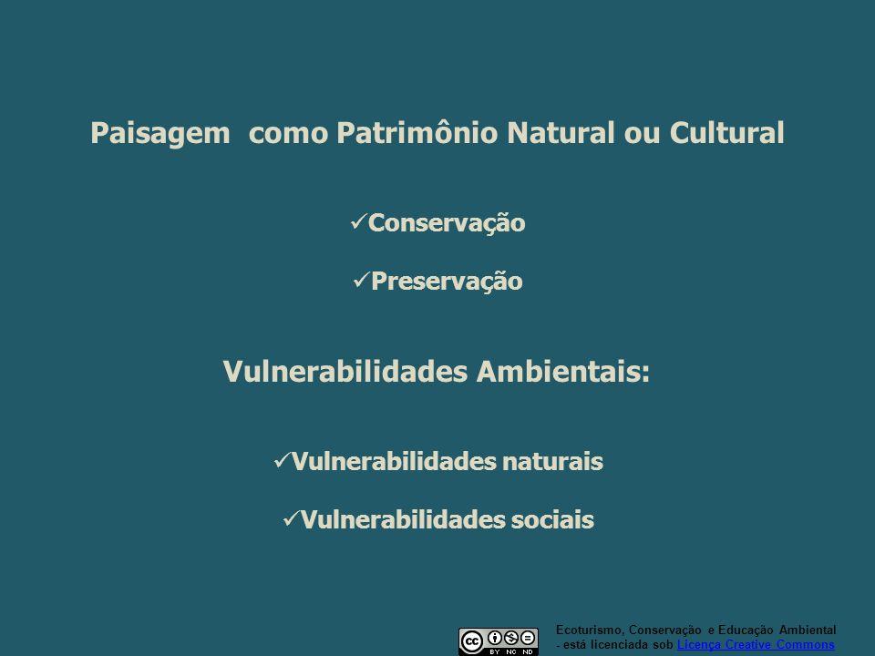 Paisagem como Patrimônio Natural ou Cultural