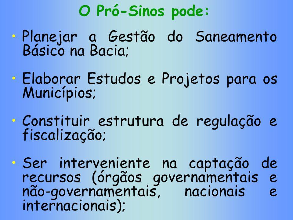 O Pró-Sinos pode:Planejar a Gestão do Saneamento Básico na Bacia; Elaborar Estudos e Projetos para os Municípios;