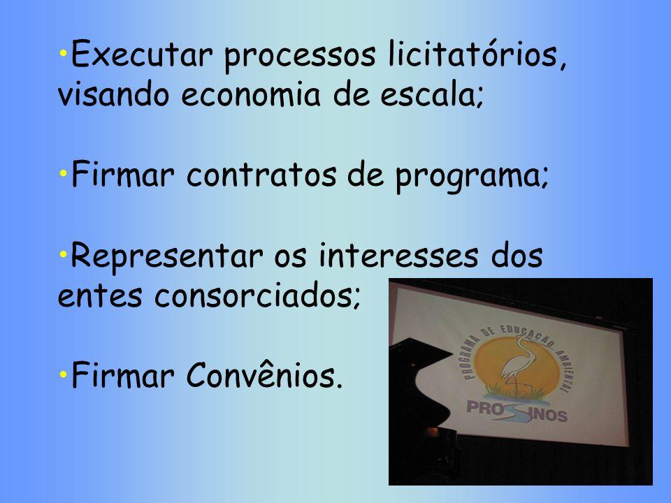 Executar processos licitatórios, visando economia de escala;