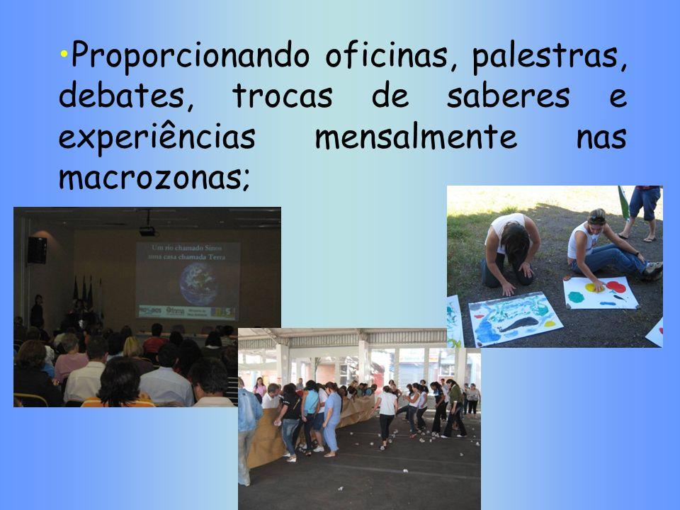 Proporcionando oficinas, palestras, debates, trocas de saberes e experiências mensalmente nas macrozonas;