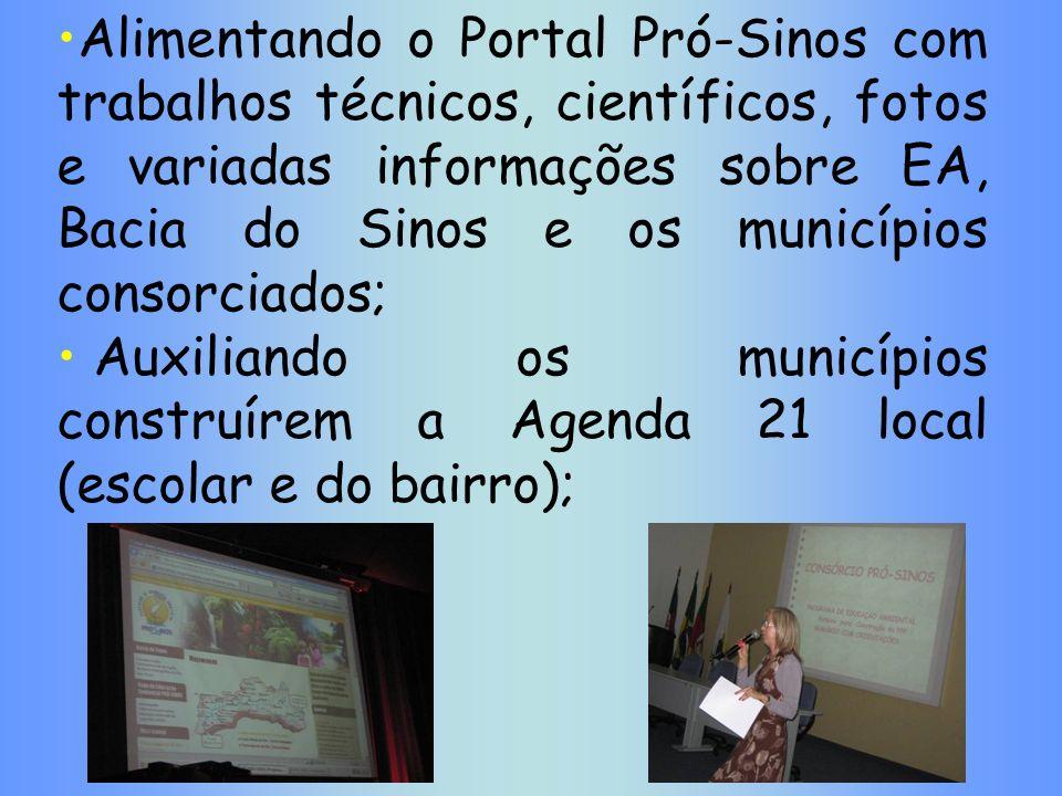 Alimentando o Portal Pró-Sinos com trabalhos técnicos, científicos, fotos e variadas informações sobre EA, Bacia do Sinos e os municípios consorciados;