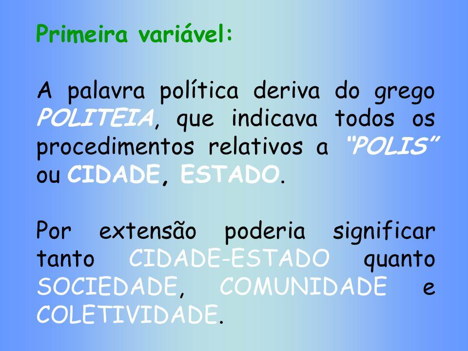 Primeira variável: A palavra política deriva do grego POLITEIA, que indicava todos os procedimentos relativos a POLIS ou CIDADE, ESTADO.