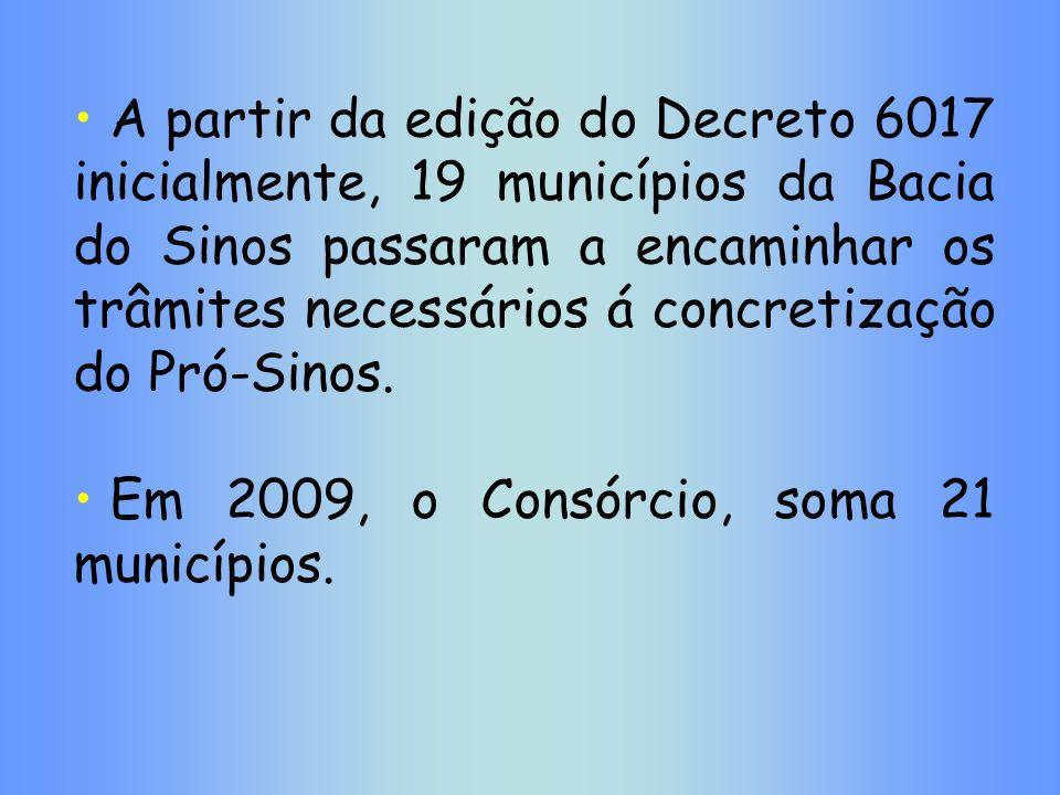 A partir da edição do Decreto 6017 inicialmente, 19 municípios da Bacia do Sinos passaram a encaminhar os trâmites necessários á concretização do Pró-Sinos.