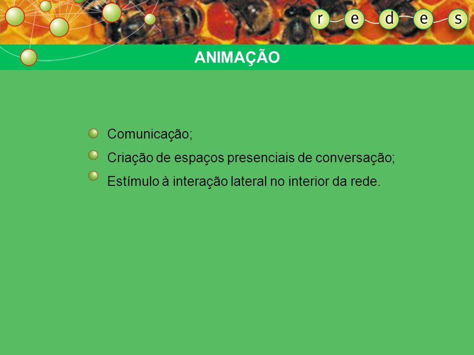ANIMAÇÃO Comunicação; Criação de espaços presenciais de conversação;