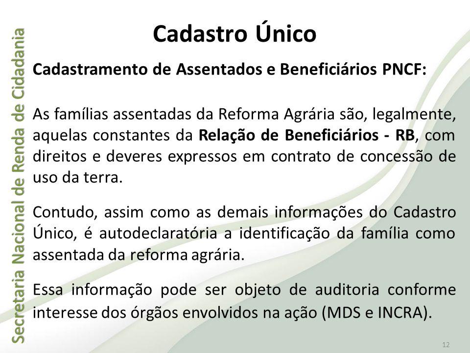 Cadastro Único Cadastramento de Assentados e Beneficiários PNCF: