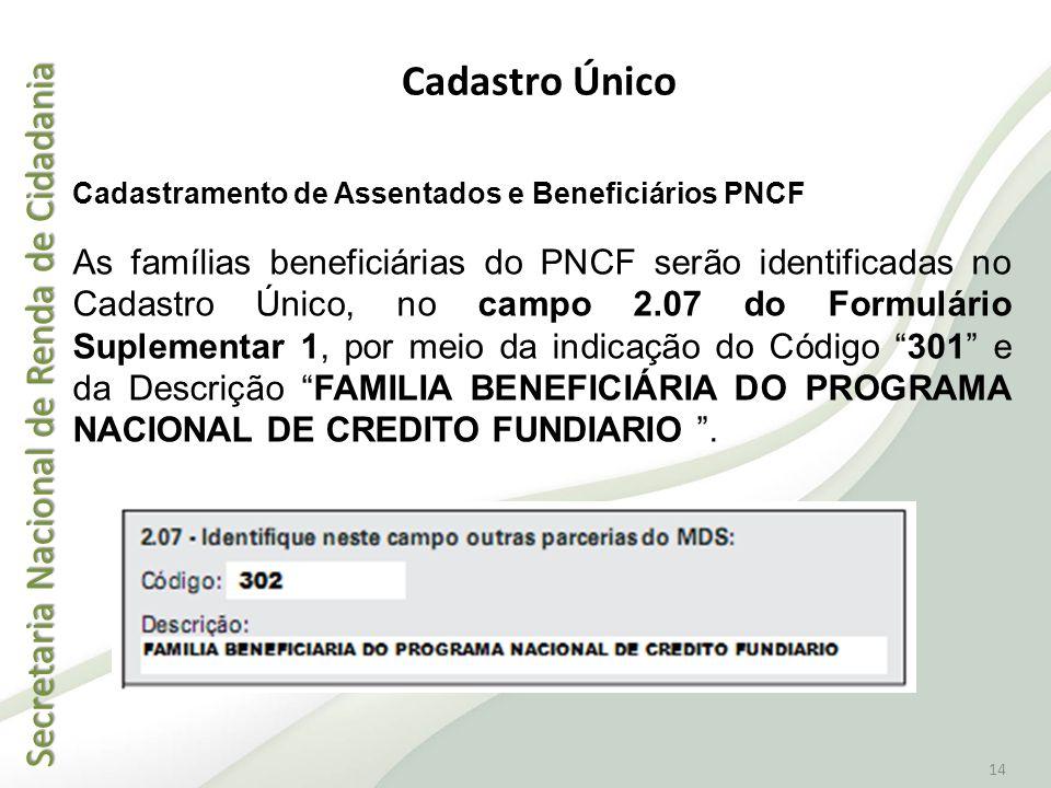 Cadastro Único Cadastramento de Assentados e Beneficiários PNCF.