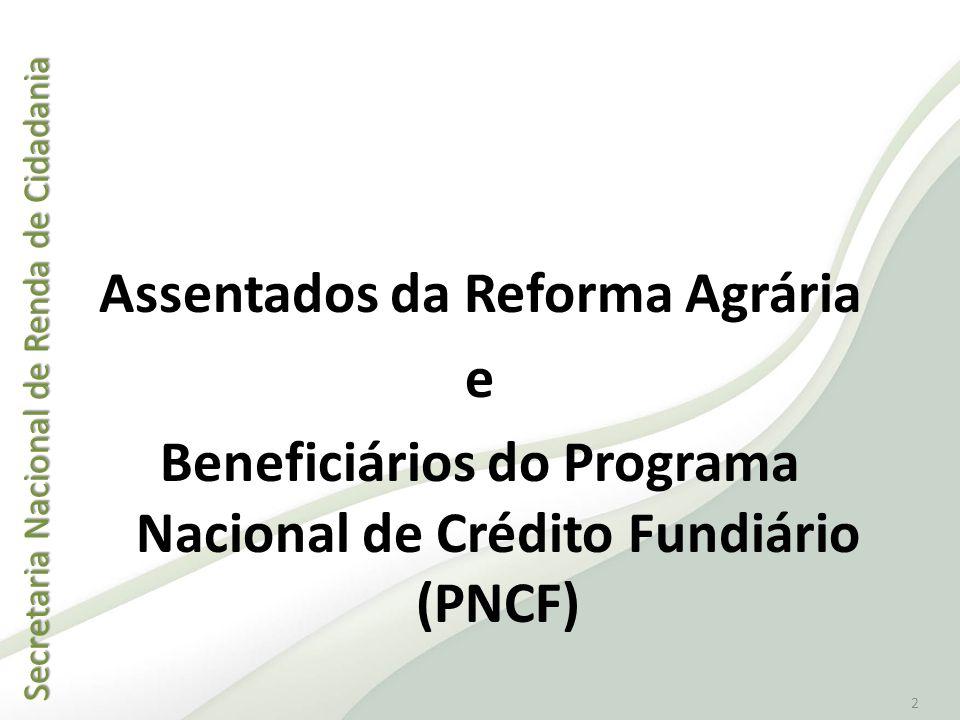 Assentados da Reforma Agrária e Beneficiários do Programa Nacional de Crédito Fundiário (PNCF)