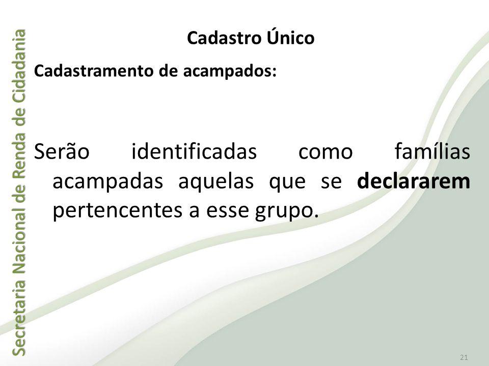Cadastro Único Cadastramento de acampados: Serão identificadas como famílias acampadas aquelas que se declararem pertencentes a esse grupo.