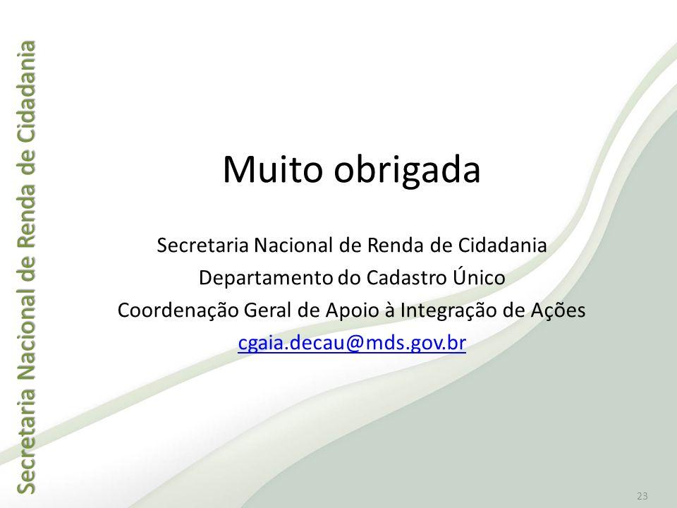 Muito obrigada Secretaria Nacional de Renda de Cidadania