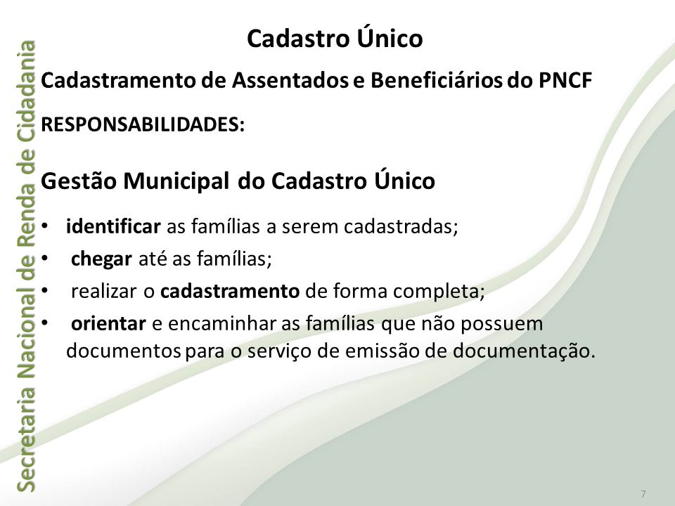 Cadastro Único Gestão Municipal do Cadastro Único