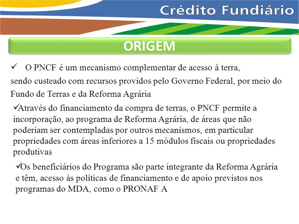 ORIGEM O PNCF é um mecanismo complementar de acesso à terra,