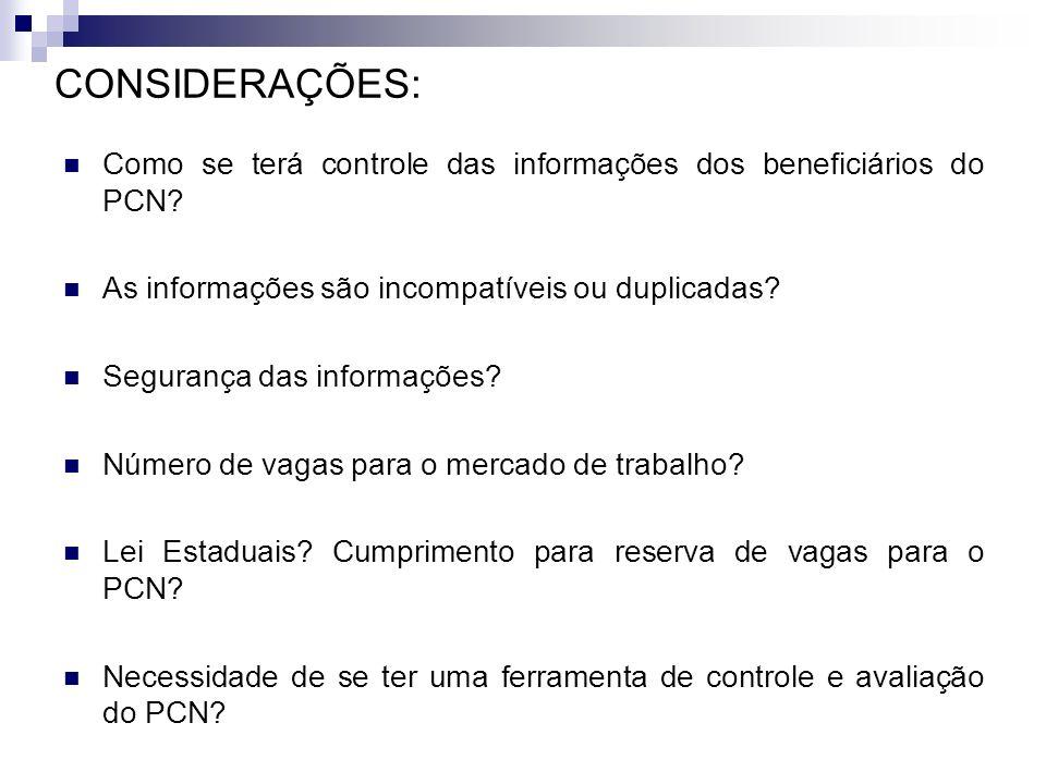 CONSIDERAÇÕES: Como se terá controle das informações dos beneficiários do PCN As informações são incompatíveis ou duplicadas