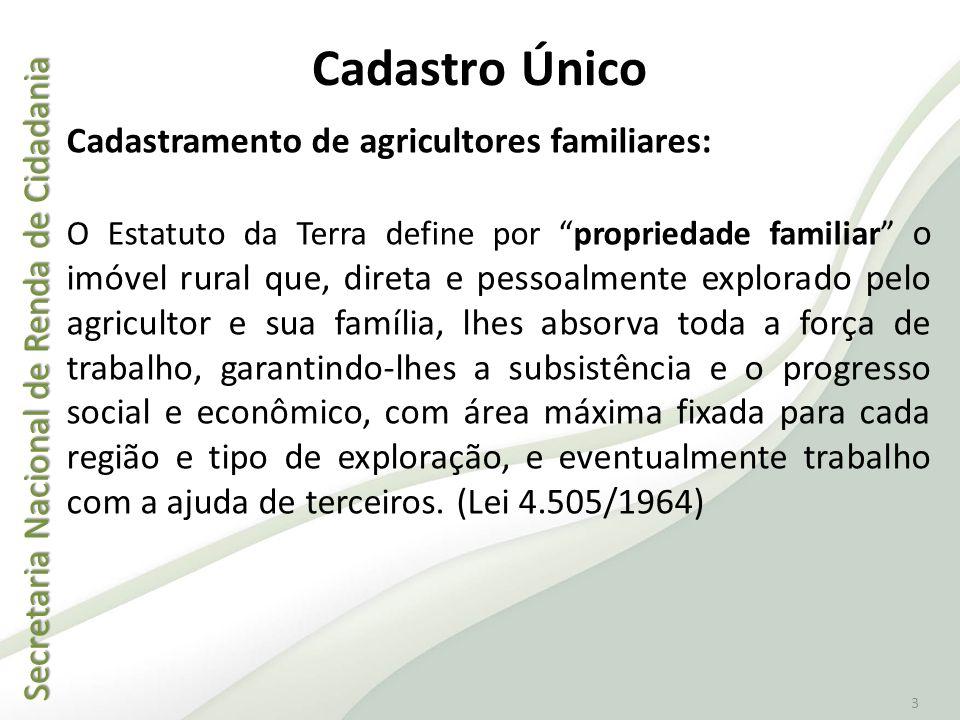 Cadastro Único Cadastramento de agricultores familiares: