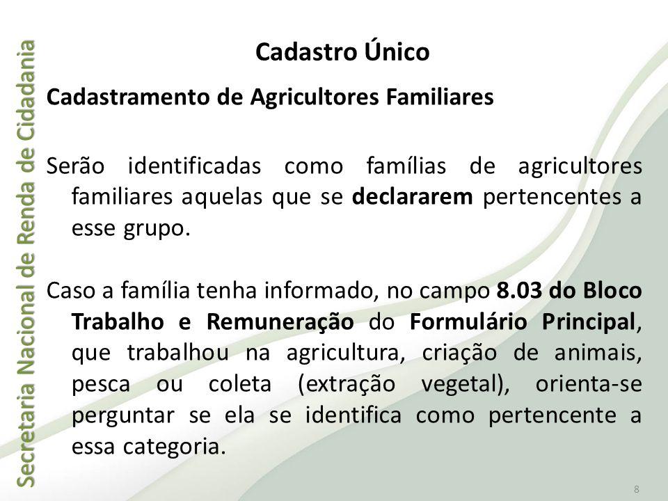 Cadastro Único Cadastramento de Agricultores Familiares