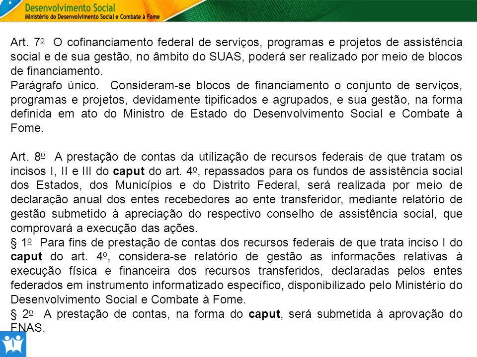 Art. 7o O cofinanciamento federal de serviços, programas e projetos de assistência social e de sua gestão, no âmbito do SUAS, poderá ser realizado por meio de blocos de financiamento.