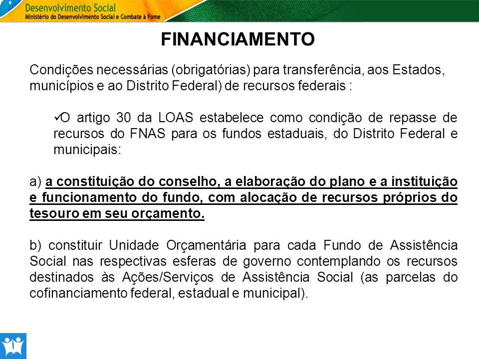 FINANCIAMENTO Condições necessárias (obrigatórias) para transferência, aos Estados, municípios e ao Distrito Federal) de recursos federais :