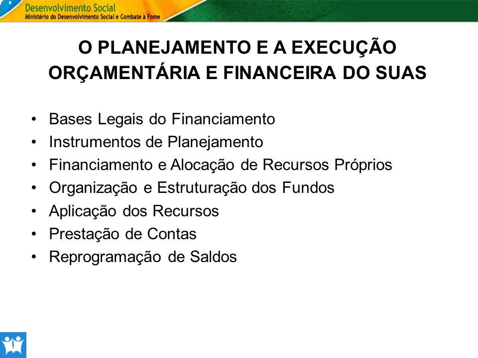 O PLANEJAMENTO E A EXECUÇÃO ORÇAMENTÁRIA E FINANCEIRA DO SUAS