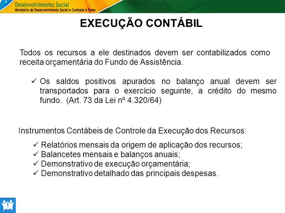 EXECUÇÃO CONTÁBIL Todos os recursos a ele destinados devem ser contabilizados como receita orçamentária do Fundo de Assistência.