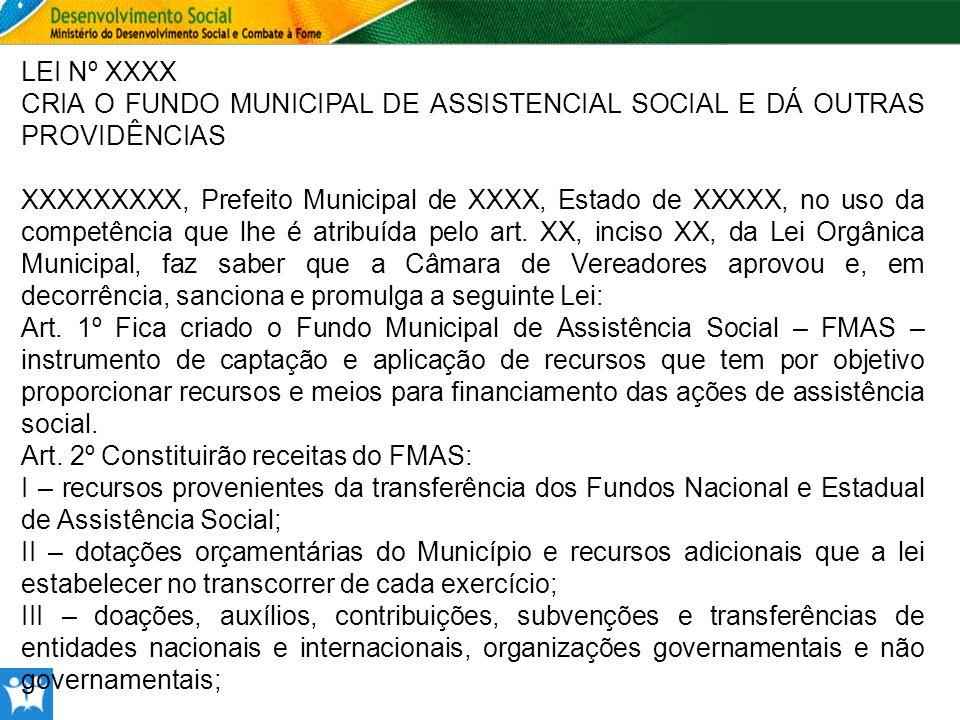 LEI Nº XXXX CRIA O FUNDO MUNICIPAL DE ASSISTENCIAL SOCIAL E DÁ OUTRAS PROVIDÊNCIAS.