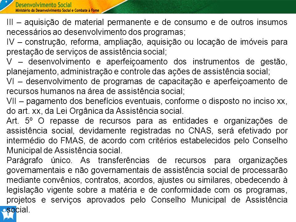 III – aquisição de material permanente e de consumo e de outros insumos necessários ao desenvolvimento dos programas;
