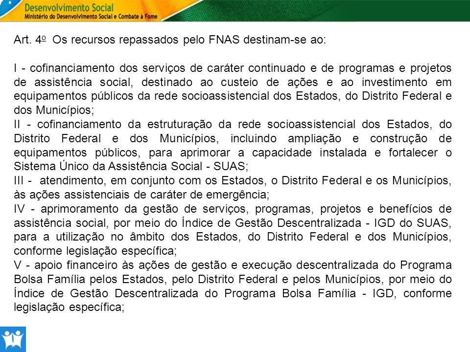 Art. 4o Os recursos repassados pelo FNAS destinam-se ao:
